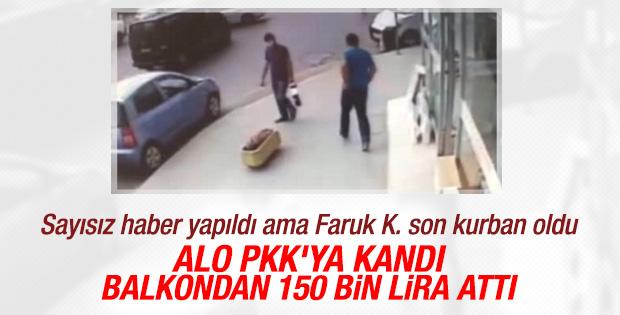 Dolandırıcılara 150 bin TL'yi balkondan poşetle attı