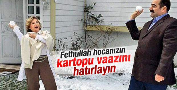 Nazlı Ilıcak ve Zekeriya Öz'ün kartopu fotoğrafı