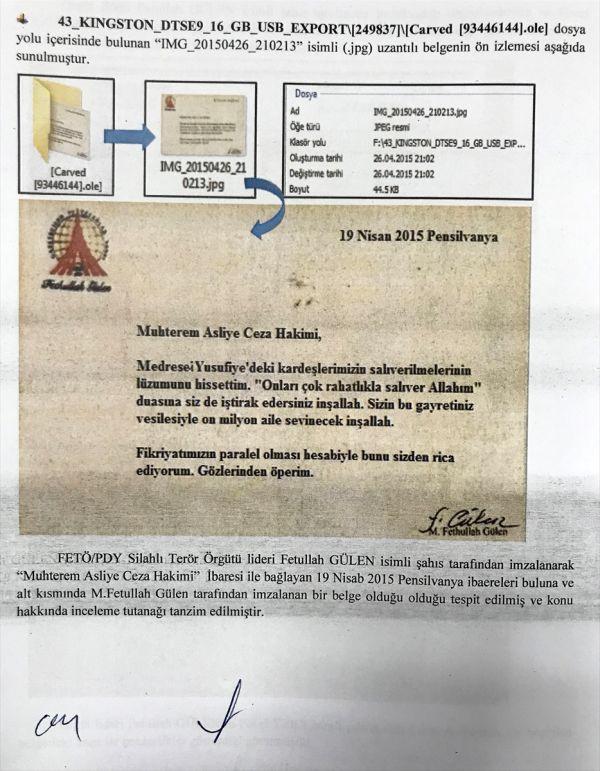 FETÖ'nün örgüt mensuplarına verdiği talimat yazısı