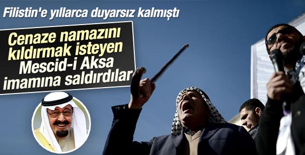 Mescid-i Aksa'da Kral Abdullah'ı öven imama darp girişimi