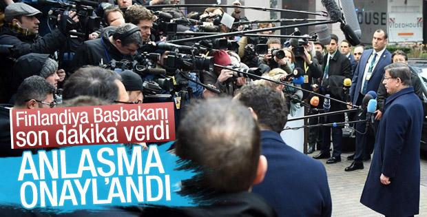 Finlandiya Başbakanı: AB-Türkiye anlaşması onaylandı