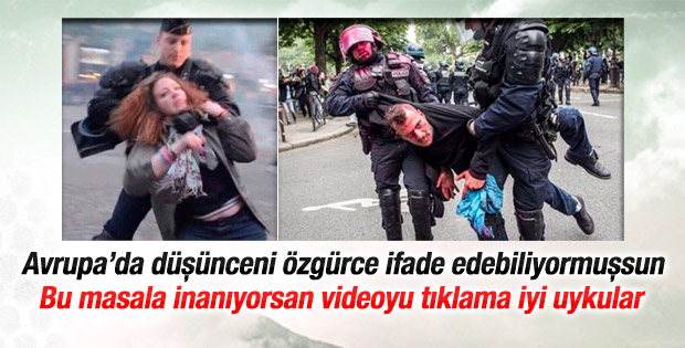 Fransız polisi eylemcileri tekme tokat dövdü