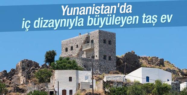 Yunanistan'da iç dizaynıyla büyüleyen taş ev