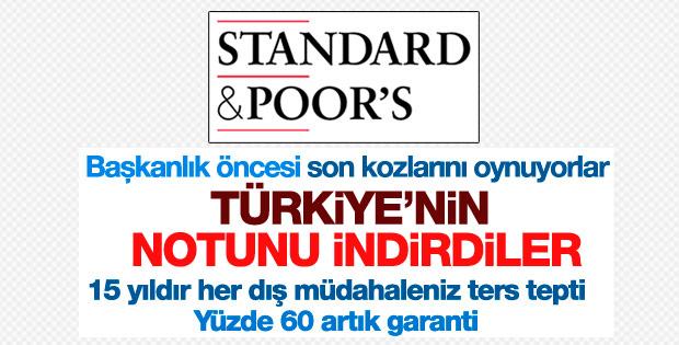 Standard&Poors Türkiye'nin kredi notunu düşürdü
