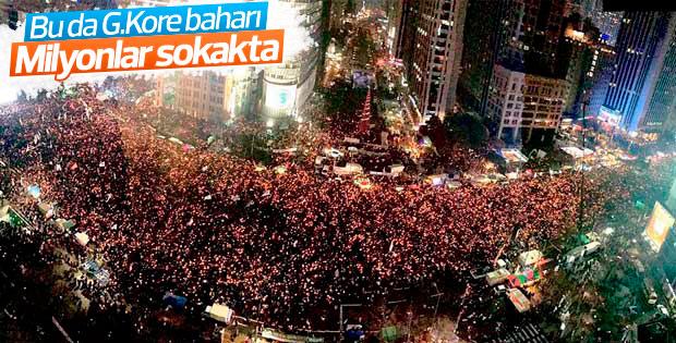 Güney Kore'de milyonlar sokağa çıktı