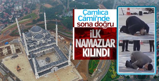 Yapımı devam eden Çamlıca Camii'de ilk namazlar kılındı