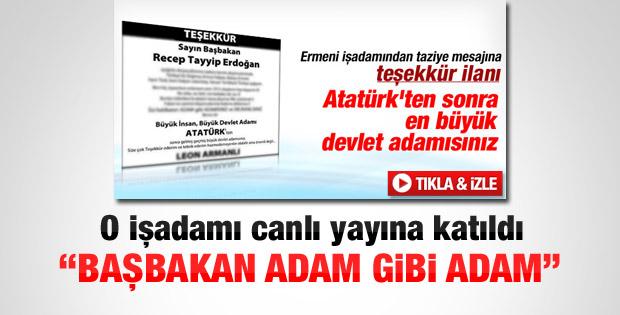 Gazeteye ilan veren Ermeni işadamı canlı yayına katıldı