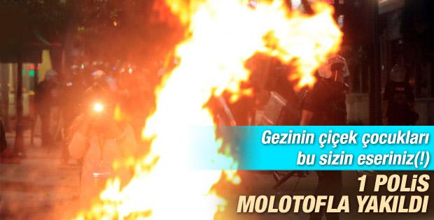 İstanbul'da bir polis molotofla yakıldı