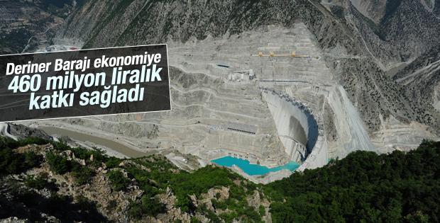 Deriner Barajı ekonomiye 460 milyon liralık katkı sağladı