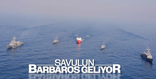 Barbaros sismik araştırma gemisi tam korumayla çalışıyor