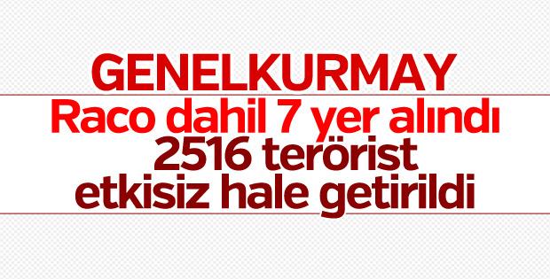 TSK: 2516 terörist etkisiz hale getirildi