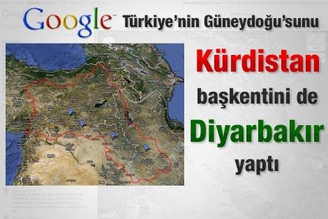 Google, Türkiyenin güneydoğusunu Kürdistan haritası içinde gösterdi