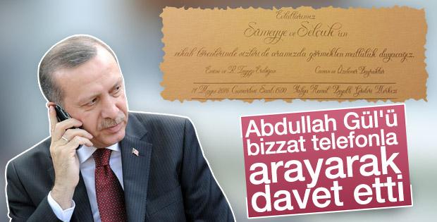 Cumhurbaşkanı Erdoğan'dan Abdullah Gül'e düğün daveti