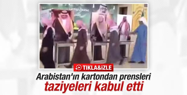 Kral Abdullah'ın taziye töreninde maketli karşılama