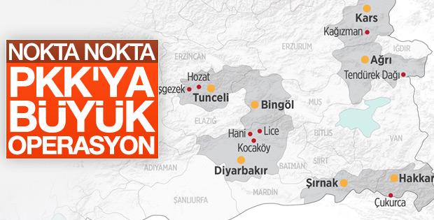 PKK'ya 12 bölgede büyük operasyon