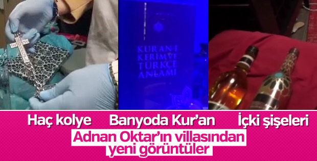 Adnan Oktar'ın villasından yeni görüntüler: Haç, Kur'an