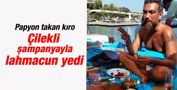 Hakan Akkaya beach'te lahmacun yedi şampanya içti