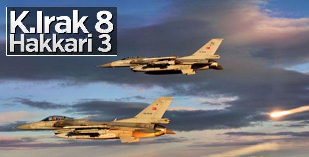 Kuzey Irak'ta 8, Hakkari'de 3 terörist etkisiz hale getirildi