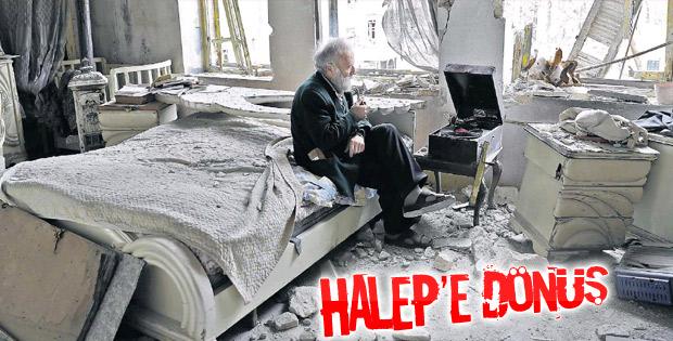 Halep'te yıkılan mahallesine dönen adam