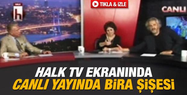 Halk TV'de canlı yayın ekranında içki şişesi İZLE