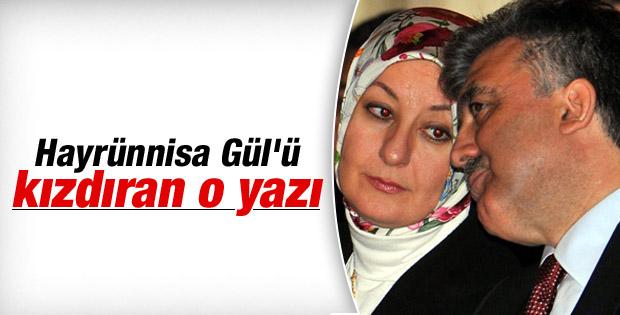 Hayrunnisa Gül Selvi'ye yazısından dolayı kırgın