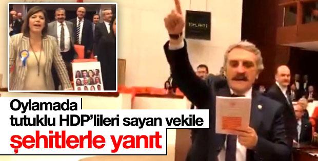TBMM'de tutuklu HDP'lileri sayan vekile şehitlerle yanıt