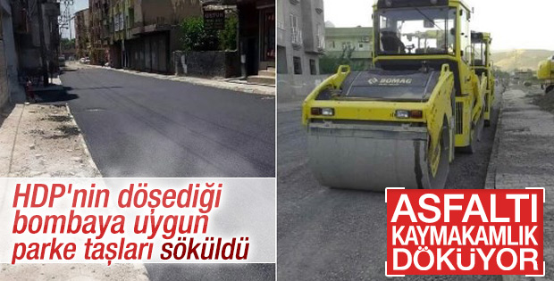 Cizre ve Silopi'de asfalt çalışması