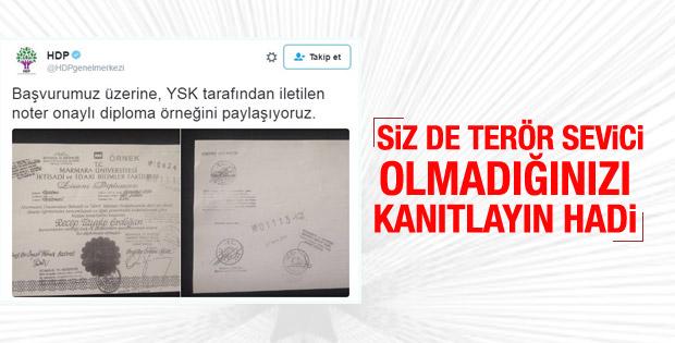 YSK gönderdi HDP Erdoğan'ın diplomasını paylaştı