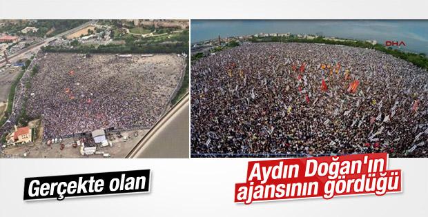 Aydın Doğan'ın ajansı HDP mitingini milyonluk gösterdi