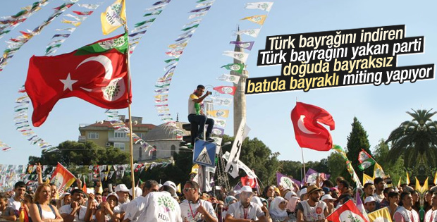 HDP batı şehirlerinde Türk bayrağı kullanıyor