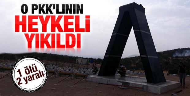 Diyarbakır'daki PKK'lı heykeli yıkıldı İZLE