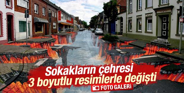 Sokakların çehresi 3 boyutlu resimlerle değişti