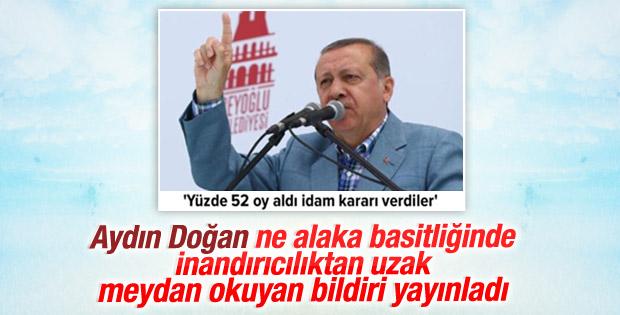 Doğan Medya'dan Cumhurbaşkanı Erdoğan'a bildiri