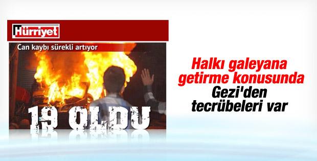 Hürriyet Kobani olaylarına tahrikle yaklaşıyor