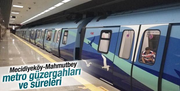 Mecidiyeköy-Mahmutbey metro güzergahları ve süreleri