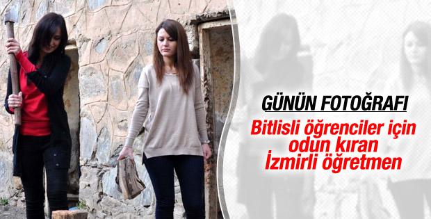 Bitlis'te odun kırıp, soba yakan eğitim melekleri