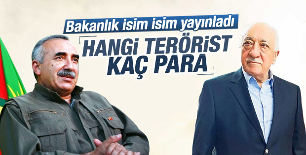 İçişleri Bakanlığı aranan teröristlerin listesini yayınladı