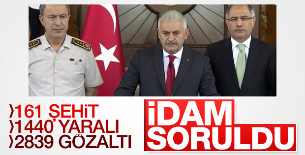 Başbakan Binali Yıldırım'a idam sorusu