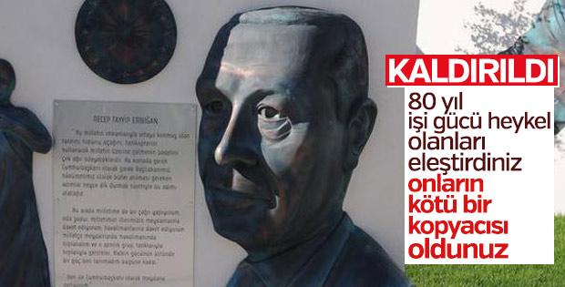 Kocaeli'de Erdoğan büstü kaldırıldı