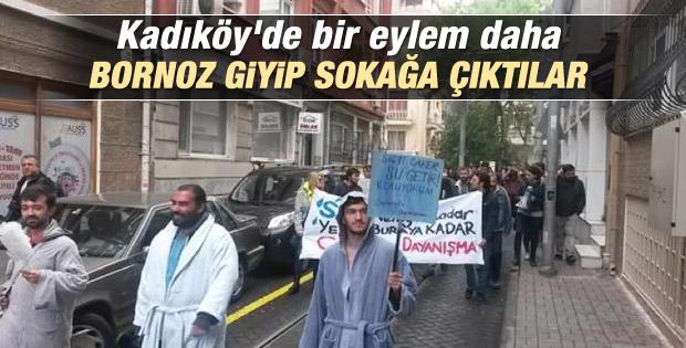 Kadıköy'de su kesintisine bornozlu protesto