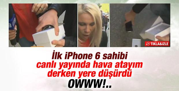 iPhone 6'yı alan genç canlı yayında yere düşürdü