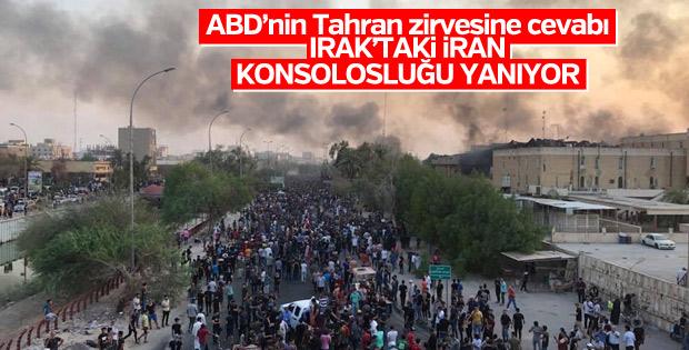 Basra'da göstericiler İran Başkonsolosluğu'nu yaktı