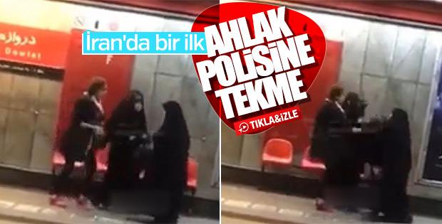 Örtünmesini isteyen ahlak polisine tekme attı
