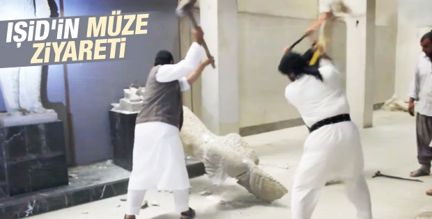 IŞİD Musul'daki bir müzede heykelleri yıktı