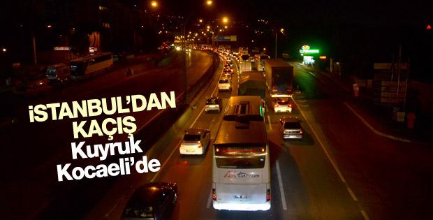 İstanbul'dan kaçış trafiği Kocaeli'ye dayandı