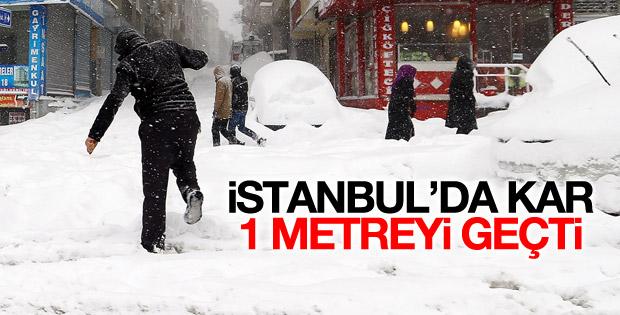 İstanbul'da kar kalınlığı 1 metreyi geçti
