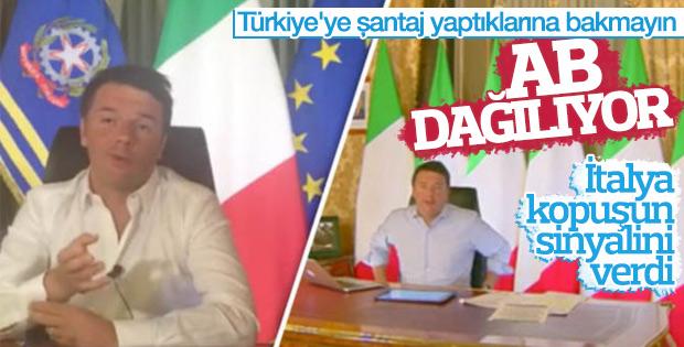 İtalya Başbakanı Renzi AB bayrağını indirtti