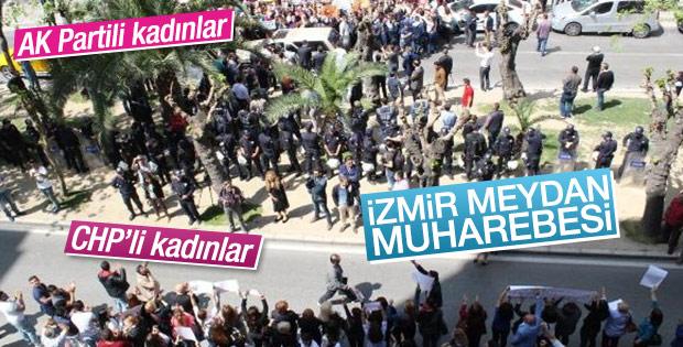 AK Partili ve CHP'li kadınlardan karşılıklı protesto