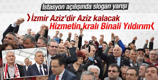 İzmir'de CHP-AK Parti taraftarlarının slogan kavgası