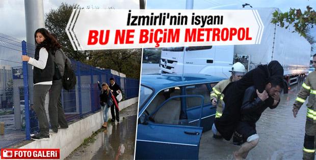 İzmir'de sağanak yağış etkili oldu İZLE